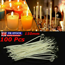 100 X Pre Waxed Wicks For Home Candle Making Cotton With Sustainers 15cm Long UK