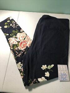Lularoe TC2 Navy Blue Dipped Floral Gorgeous Leggings New Release