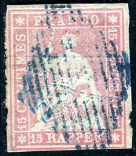 SCHWEIZ 1854 15Ib gestempelt blaue RAUTE 400€(D6189