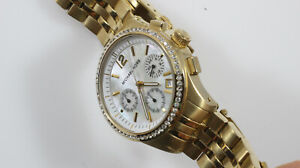 Michael Kors MOP Dial Gold Tone Date Glitz Women's Watch Chrono MK-5019