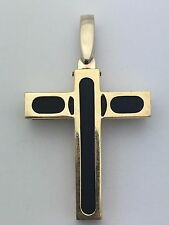 New Italian 14K Yellow Gold Cross with Black Rubber Religious Charm Pendant 5.3g