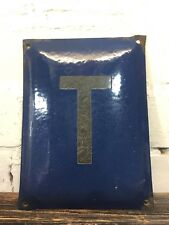 "Vintage Enamel Sign ""T"" Made in Poland Wall Signage Communist Metal Plaque"