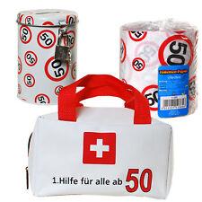 Geschenkset Erste Hilfe Tasche + Toilettenpapier + Spardose 50. Geburtstag 50
