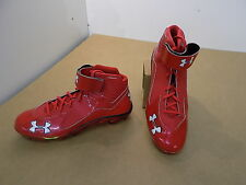 NEW Texas Tech Game Issued Under Armour Spine Mid MC Football Cleats shoes  / 15