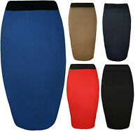 Womens Ladies Elastic Waist Bodycon Stretch Ladies Plain Pencil Midi Skirt 8-22