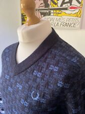 """Fred Perry RARE Texture Knitted Navy Blue Wool Jumper M 40"""" Mod Skins Ivy 60s"""