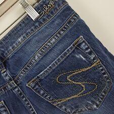 Silver Aiko Wide Leg Boot Cut Flare Distress Women's Blue Jeans Size 29 x 33
