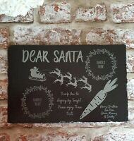 Personalised Santa Treat, Tray, Board Father Christmas Unique, slate, engraved