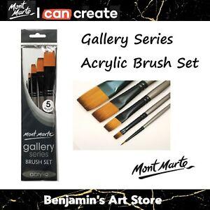 AU 5pc Mont Marte Gallery Series Acrylic Paint Brushes Artist Brush Set Taklon
