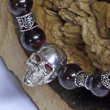 UNIKAT Granatkette L41 Collier 925Silber + dr.skull Totenkopf echt Granat Augen