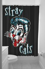 SOURPUSS Stray Cats Black Shower Curtain with Rings Rockabilly