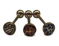 Leopard Print Tongue Bar Barbell Piercing Surgical Steel