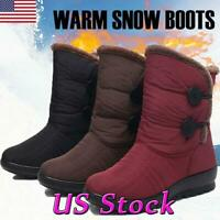 New Winter Women Casual Snow Ankle Boots Fur-lined Slip On Warm Shoes Waterproof
