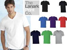 Gildan V Neck Short Sleeve Basic T-Shirts for Men