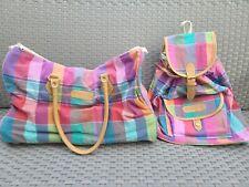 Vintage 80s 90s Sasson Overnight Bag & Backpack ~ Pastel Madras Plaid ~ Purse