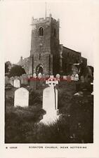 REAL PHOTOGRAPHIC POSTCARD OF RUSHTON CHURCH, (NEAR KETTERING), NORTHAMPTONSHIRE