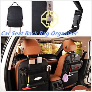 Multifunction Car Seat Back Bag Organizer Storage Cup Pad Phone Holder PU Pocket