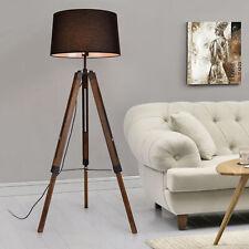 Stehleuchte Stativ Stehlampe Standleuchte Stand Lampe Metall Schwarz Braun Holz