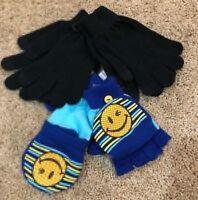 Girls Black Joe Boxer Texting Blue Flip Top Gloves 3 Pair