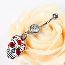 Cool Skull Navel Belly Ring Rhinestone Button Bar Halloween Prop Party Décor HW