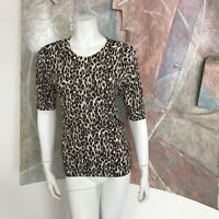 White House Black Market WHBM Leopard Print Sweater R SZ Small NWOT Crewneck