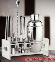 Fsshion Cocktail Shaker Set Stainless Steel 5pcs Kit Set Drinks Mixer Ice Tongs