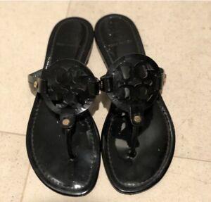 Tory Burch Miller Black Thong Sandals SZ 8.5