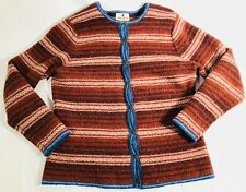 Woolrich Women's Brown 100% Lambs Wool Cardigan Sweater Blanket Striped Size L