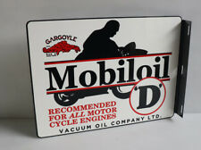 Mobiloil D Oil Flange Sign with Motorcycle Engine gas mobil oil Modern Retro
