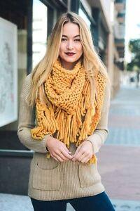Thick Soft Chunky Knit Mustard Yellow Triangle Wrap Scarf B14