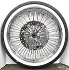 """DNA Mammoth 52 Chrome Fat Daddy Spoke 21"""" 18"""" Wheels Set Harley FLH Package"""