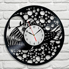 Deep Sea Fish design vinyl record clock home decor art vet shop hobby office 2