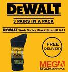 Mens DeWalt Work Socks Boot Socks 3 Pairs in a Pack - Black Size UK 6-11 <br/> ✅ UK SELLER ✅ FAST DISPATCH ✅ FREE P&P