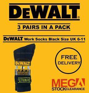 Mens DeWalt Work Socks Boot Socks 3 Pairs in a Pack - Black Size UK 6-11