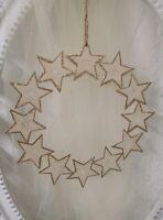 Deko Kranz Sterne Kranz Creme gold 19cm Weihnachten Advent Deko Metall