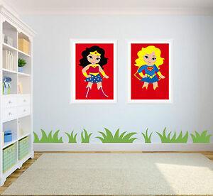 Superhero Supergirls Wall Art print Wonderwoman Spiderwoman Supergirl Batgirl