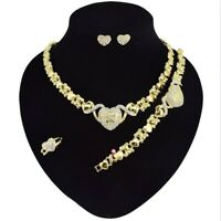 "#13 HUGS & KISSES teddy bear Necklace With Bracelet 18"" Xo Earrings, (Ring size"