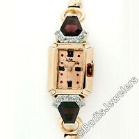 Vintage Retro Jules Jurgensen Rose Gold & Platinum Garnet & Diamond Wrist Watch