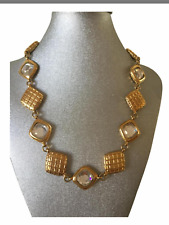 RARE VINTAGE CHANEL GOLD PLATED CRYSTAL NECKLACE