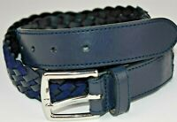 NEW NWT Mens Brooks Brothers BLUE Leather Braided Belt Chrome Buckle
