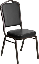 Crown Back Stacking Banquet Chair in Black Vinyl with Gold Vein Frame