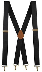 "Buyless Fashion Men Adjustable Suspenders 48"" 1 1/4"" X Back with Metal Hooks"