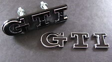 BLACK GTI Grill & Boot Badge Set Golf Polo MK2 MK3 MK5 MK6 VW