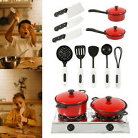 13Pcs Kids Play Kitchen Food Toys Cooking Utensils Pots Pans Accessories Set