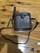 Christopher Inge Sport Brown Leather Embossed Crossbody Case purse Hand Bag