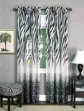 Blackout Zebra Print Animal Window Treatment Drape Curtain Panel 63 Black White