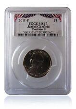 PCGS MS67 2011-P James Garfield Presidential Dollar POS B Bunting Insert