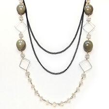 COLLIER SAUTOIR soirée chaines noire - losanges - perles - VERT - idée cadeau