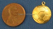 50pc Raw Brass Sports Fifa Soccer Ball Charms 6816