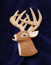 Hand Painted Whitetail Deer Head 3/4 View Pin